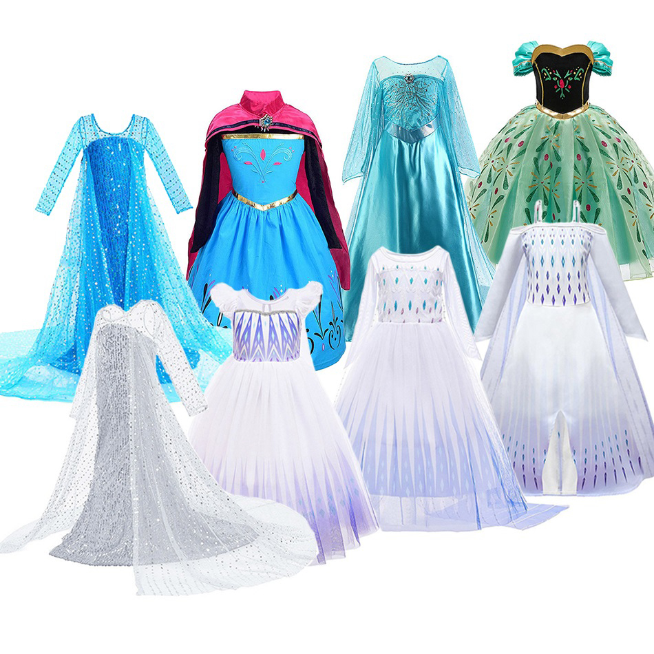 Girls Elsa Dress Kids Cosplay Snow Queen 2 Elza Costume Children Fancy Disguise Anna Birthday Party Princess Dresses New Clothes
