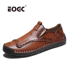 Plus Size Genuine Leather Casual Shoes Loafers Moccasins Handmade Quality Comfort Men Soft Flats