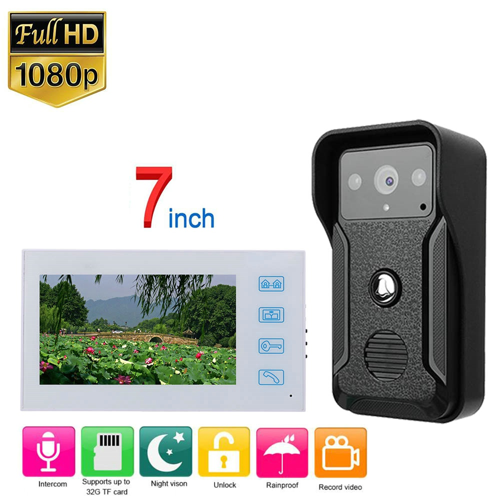 White Video Intercom System Kit 7 Inch  Wired Video Door Phone Record Doorbell Intercom System With AHD 1080P Camera