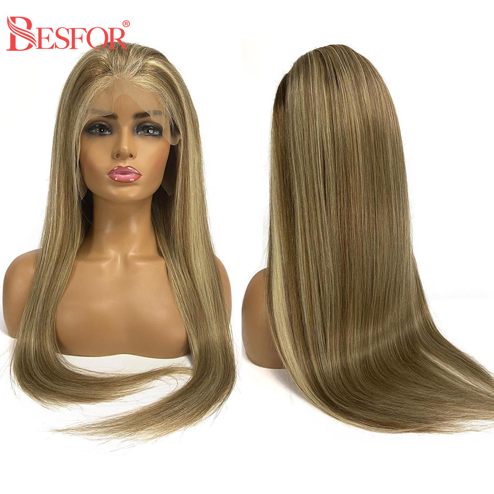 BESFOR Highlighted Color 8-18-60 Silky Straight 13×6 Lace Front Human Hair Wigs Remy Bleached Knots Glueless Balayage Hair Wig