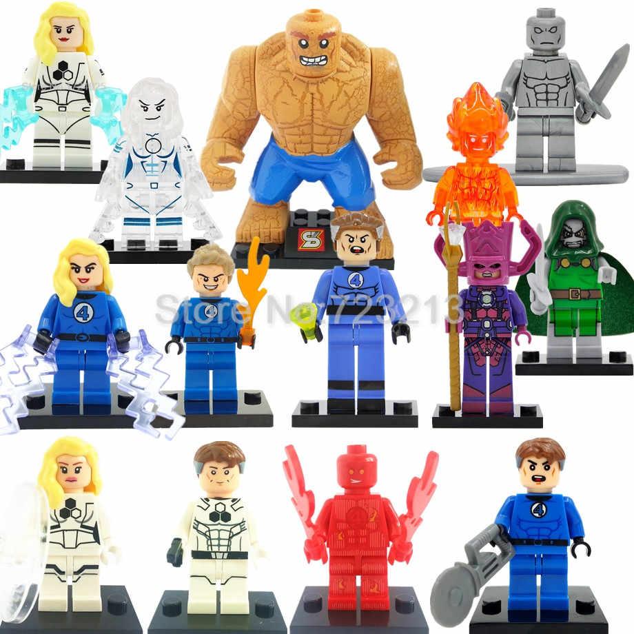 Super herói fantástico quatro marvel figura tocha humana invisível mulher a coisa blocos de construção conjunto modelo tijolos brinquedos legoing