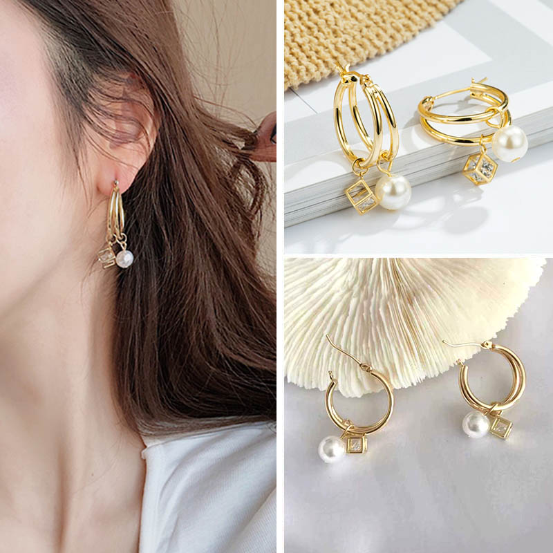 Elegant Dangle Style Earrings in Silver and Gold Color by J/&W Boutique Collection