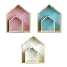 Rack-Set Nordic Wood Children's-Room Shelves Storage-Rack Cubby-Box Shadow House-Shape