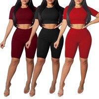 Женский летний комплект из 2 предметов, повседневный укороченный топ и шорты, облегающий наряд, короткий спортивный комбинезон