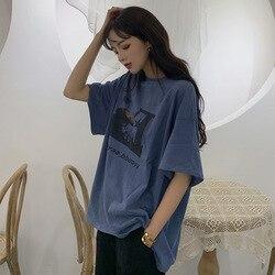 Verano de 2019 nuevo estilo suelto Camiseta de manga corta de las mujeres de estilo coreano versátil adelgazamiento Casual carta tops para estudiantes Fas