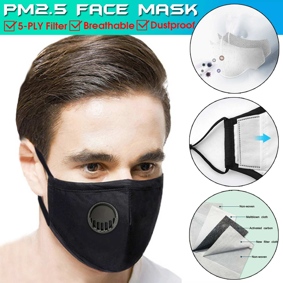 PM2.5 Filter Face Mask With Breathing Valve Bacteria Proof Anti Dust Activated Carbon Filter Respirator Washable Mouth Mask