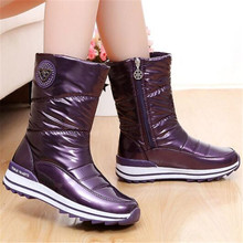 цены New Winter Classic Women Boots Mid-Calf Snow Boots Female Warm Fur Plush Insole High Quality Botas Mujer Size 36-40 Black Purple