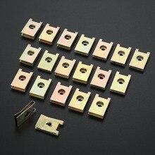 Yetaha 3mm araba raptiye klipleri vidalı taban U tipi somun montaj raptiye klipleri otomobil motoru çamurluk tampon koruma plakası kelepçesi
