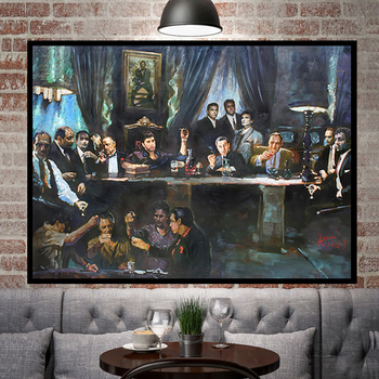 Last Supper for Scarface Godfather and Other Gansters Printed on Canvas 2