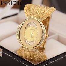 Mesh Band Women Watch Fashion Oval Gold Bracelet Alloy Quartz Watch Dress Rhinestone Women's Wristwatches Ladies Bracelet Clock