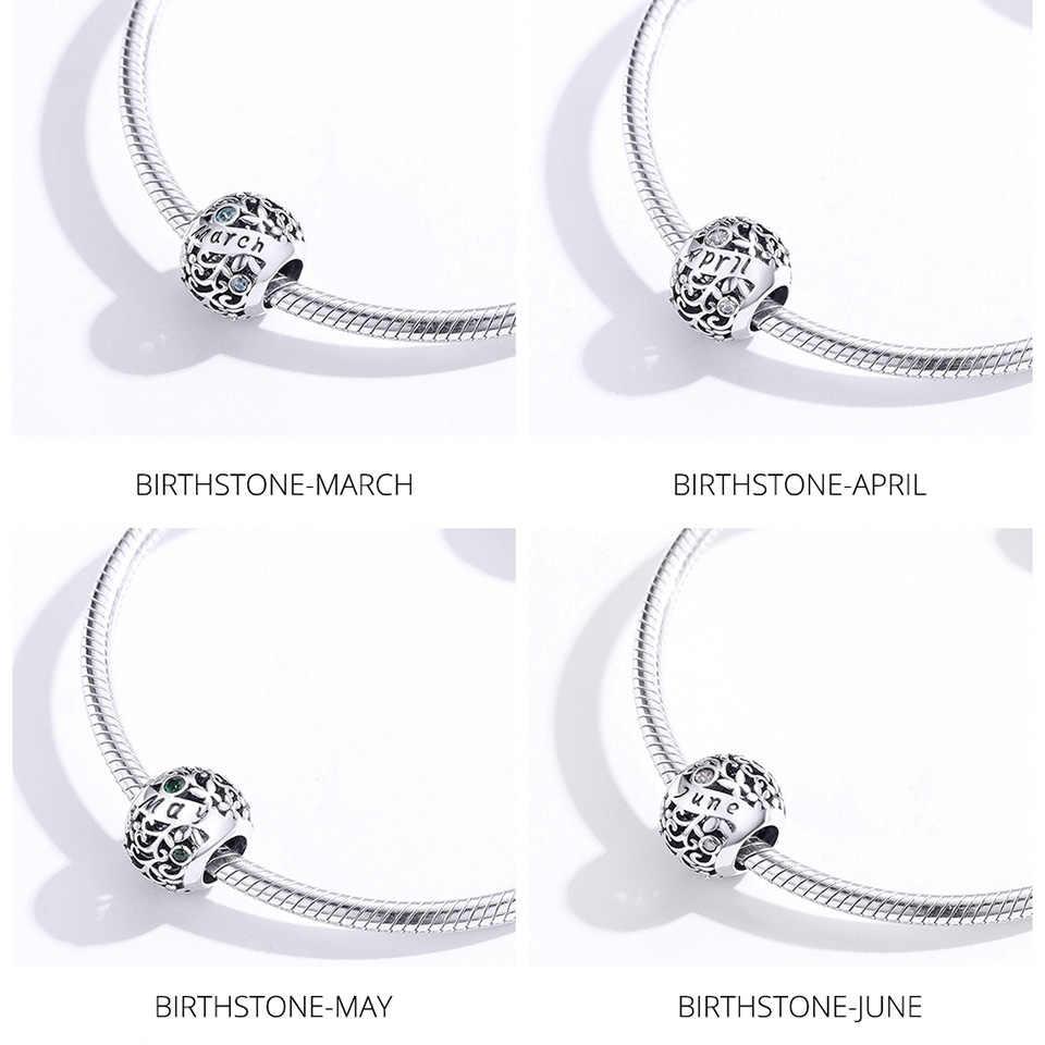 Mowimo Nyata 925 Sterling Silver Birthstone Manik-manik Pesona Fit Asli Pandora Gelang Liontin Perhiasan Hadiah Ulang Tahun BKC1385