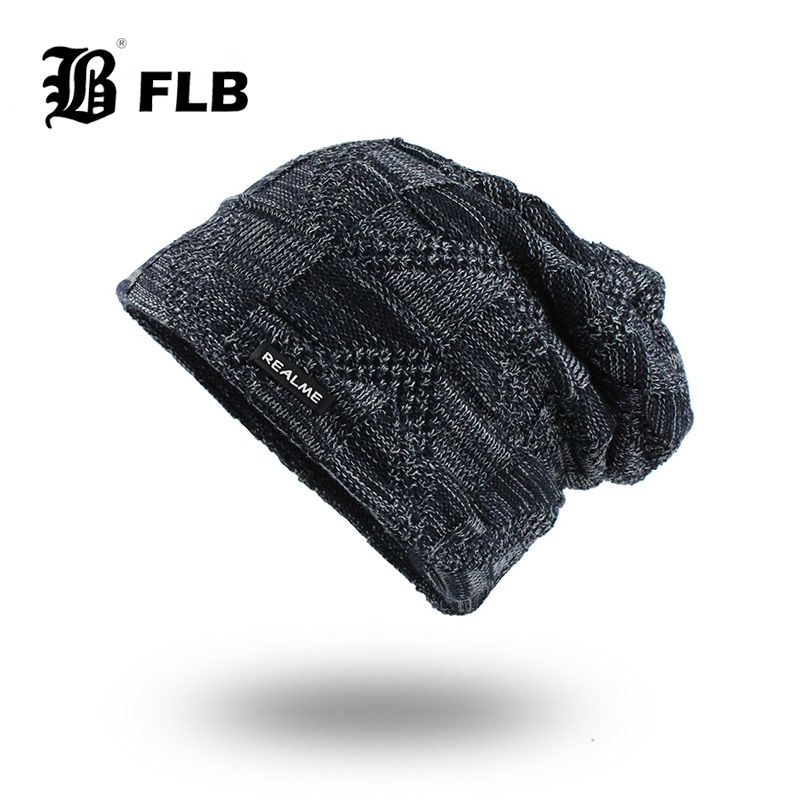 [FLB] Winter Knitted Hats Scarves Men Winter Cap Beanie Thick Neck Warm Bonnet Skullies Beanies For Men Women Knitted Hat F18085
