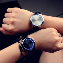 VOHE Creative Personality Minimalist Leather LED Watch Men And Women Couple Watch Smart Electronics Casual Watches(China)