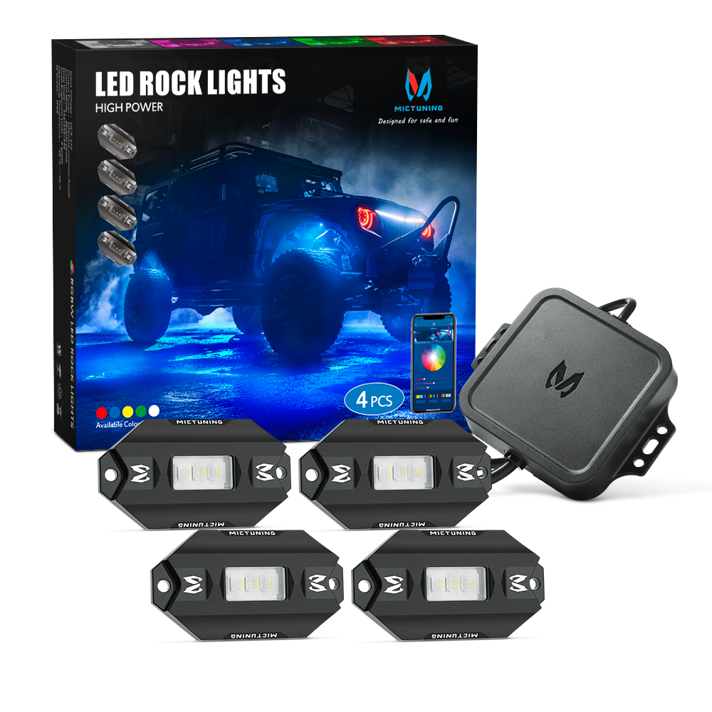 MICTUNING 4 Pods RGBW Car Led Rock Lights With Bluetooth Control & Music Mode Auto Multicolor Underglow Neon Decorative Lamp Kit