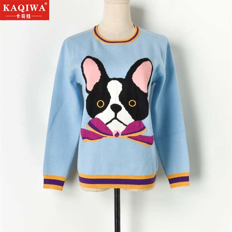 2019 Luxury Brand Designer Knitted Pullovers Casual korean sweater for Women Contrast Bow Cartoon Dog Knitted Sweater