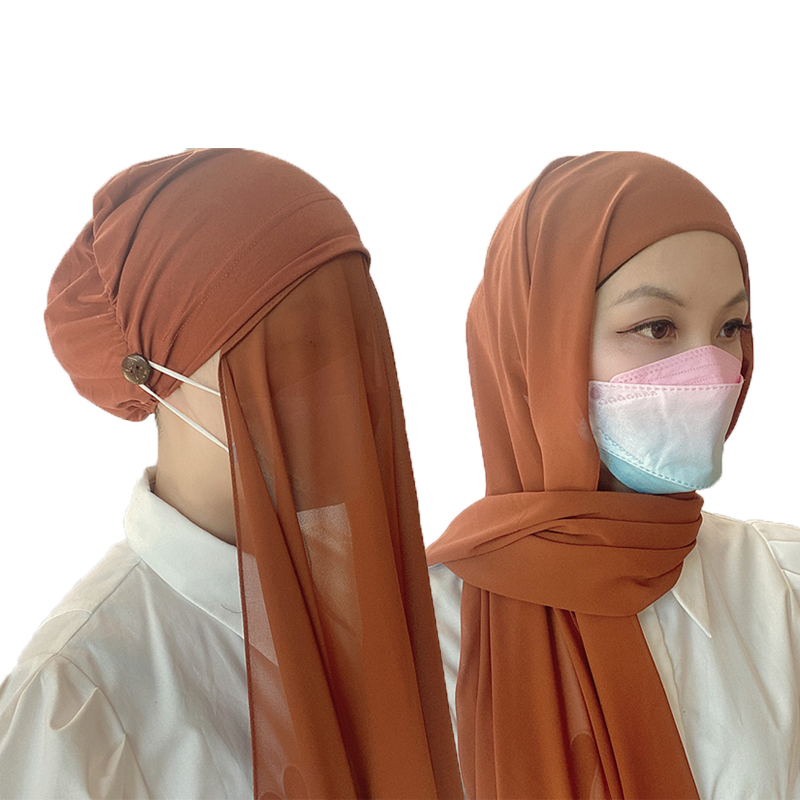 New Instant Hijabs Women Bonnet With Chiffon Shawl With buttons Easy to Wear masks Stretch Hijab Cover Headwrap