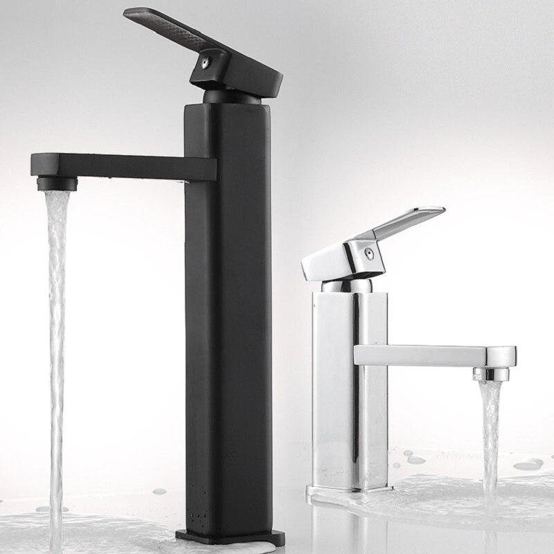 Quadrado preto/chrome torneira da bacia do banheiro lavatório de altura misturadora torneira da pia único furo