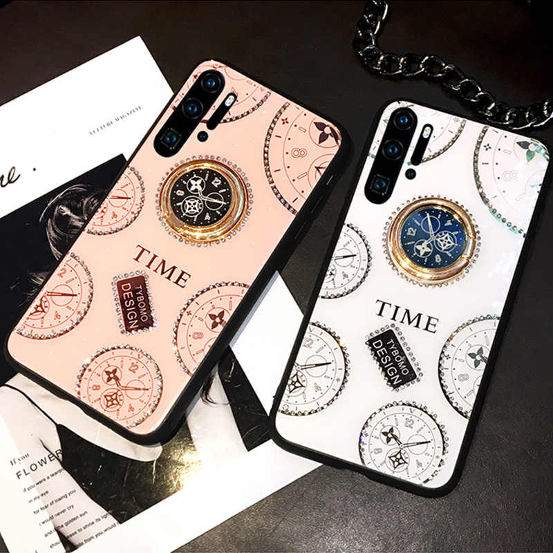 Glitter Diamond Phone Case for Huawei P20 P30 Pro Mate 20 Nova 5 5i Rhinestone Clock Finger Holder Case for Honor 9X 8X 10 20