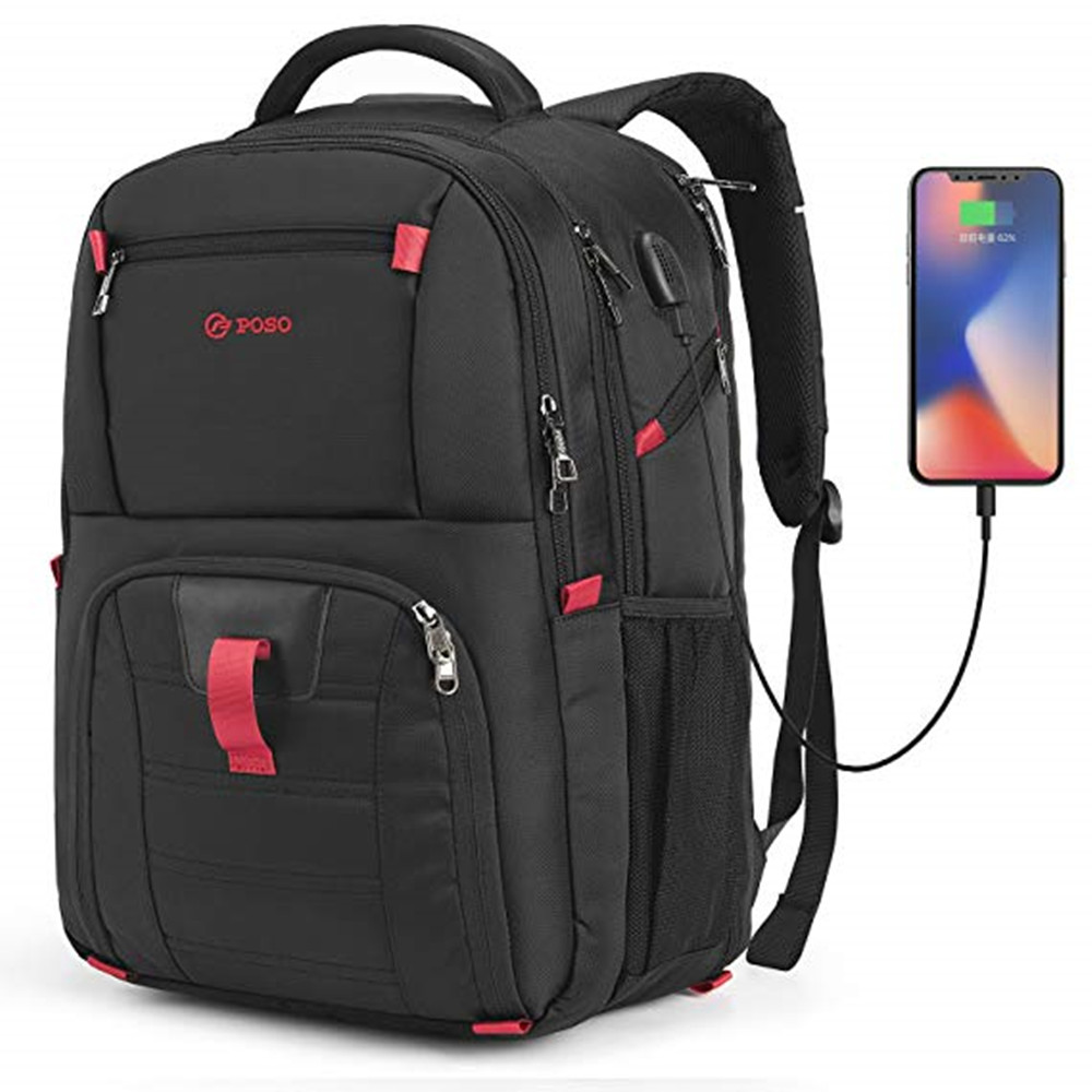 Image 2 - POSO Backpack 17.3 Inch USB Laptop Backpack Nylon Waterproof Backpack Anti Theft Travel Bag Multi function Stundet Backpack-in Backpacks from Luggage & Bags