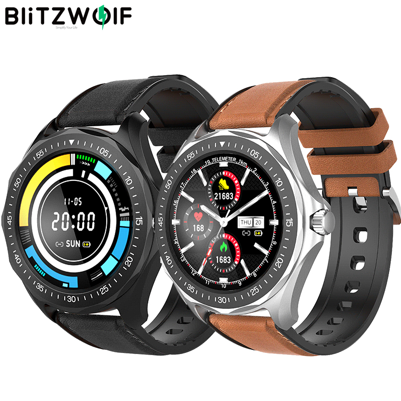 BlitzWolf BW-HL3 Smart Watch Full-touch Screen Heart Rate Blood Pressure Monitor Bluetooth Leather Smartwatch for Men Women