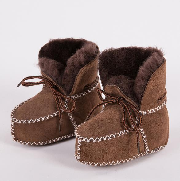 New Sheepskin Suede  Wool Fur Baby Boy Winter Boots Infant Girls Warm Moccasins Shoes With Plush Lace Up Booties