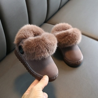 Winter Warm Kids Baby Plus Cashmere Shoes for Boy Girl Toddler Boots PU Leather Waterproof Non slip Plush Infant Snow Boots 2020