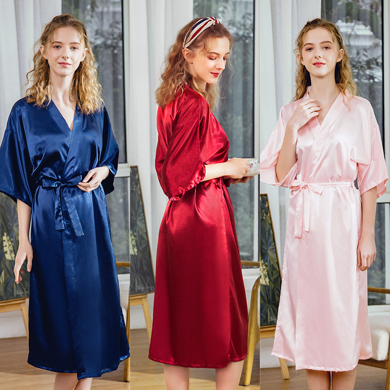 Yao Ting New Style Silk Marriage Pajamas Female Summer Long Bridesmaid Red Bride Morning Gowns Home Women's Robes Wp1351
