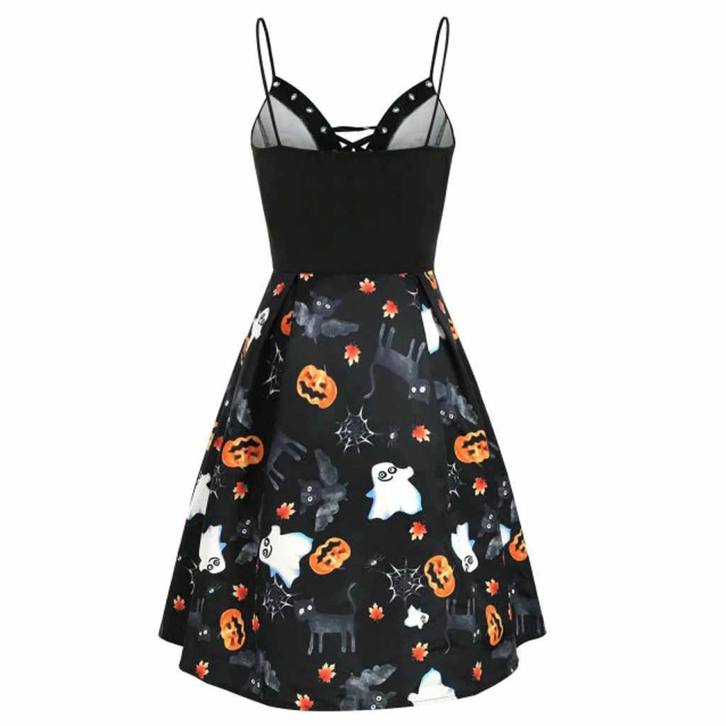 #35 moda nuevo vestido de Tweed vestido de mujer 2019 Halloween calabaza hoja fantasma estampado vestidos de encaje Vestido de playa de verano