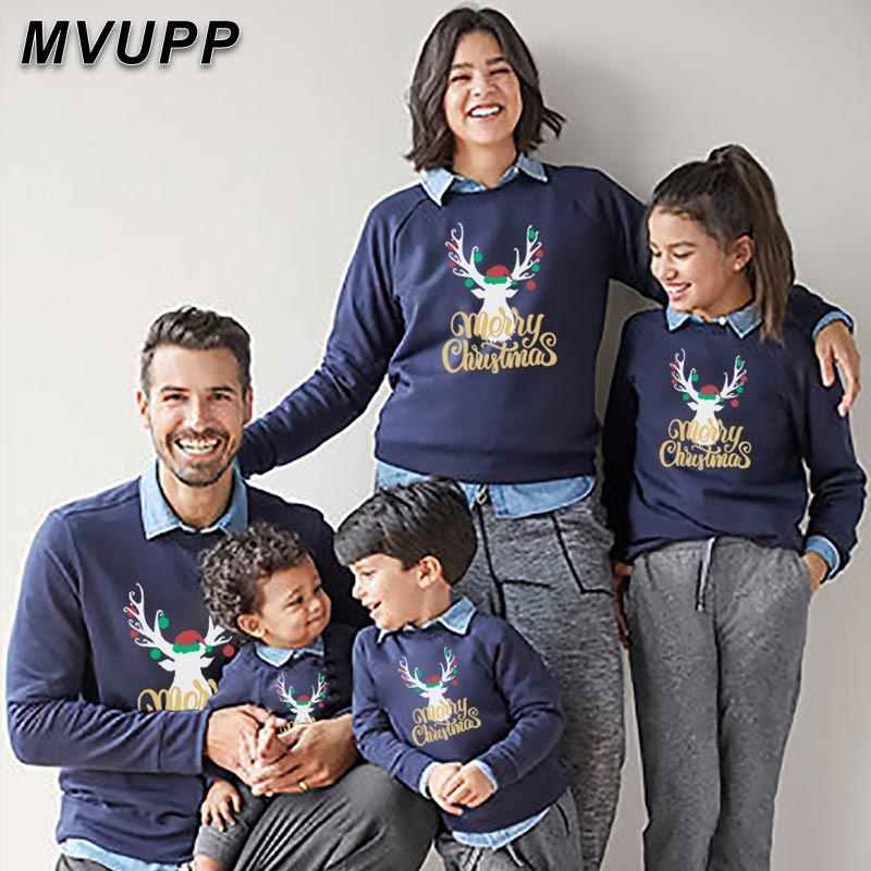 Keluarga Sweater Natal untuk Ayah Ibu dan Anak Rusa Cetak Huruf Pakaian Ayah Anak Ibu Hoodie Set Musim Dingin Sweatshirt