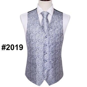 Designer Mens Classic Black Paisley Jacquard Folral Silk Waistcoat Vests Handkerchief Tie Vest Suit Pocket Square Set Barry.Wang 10