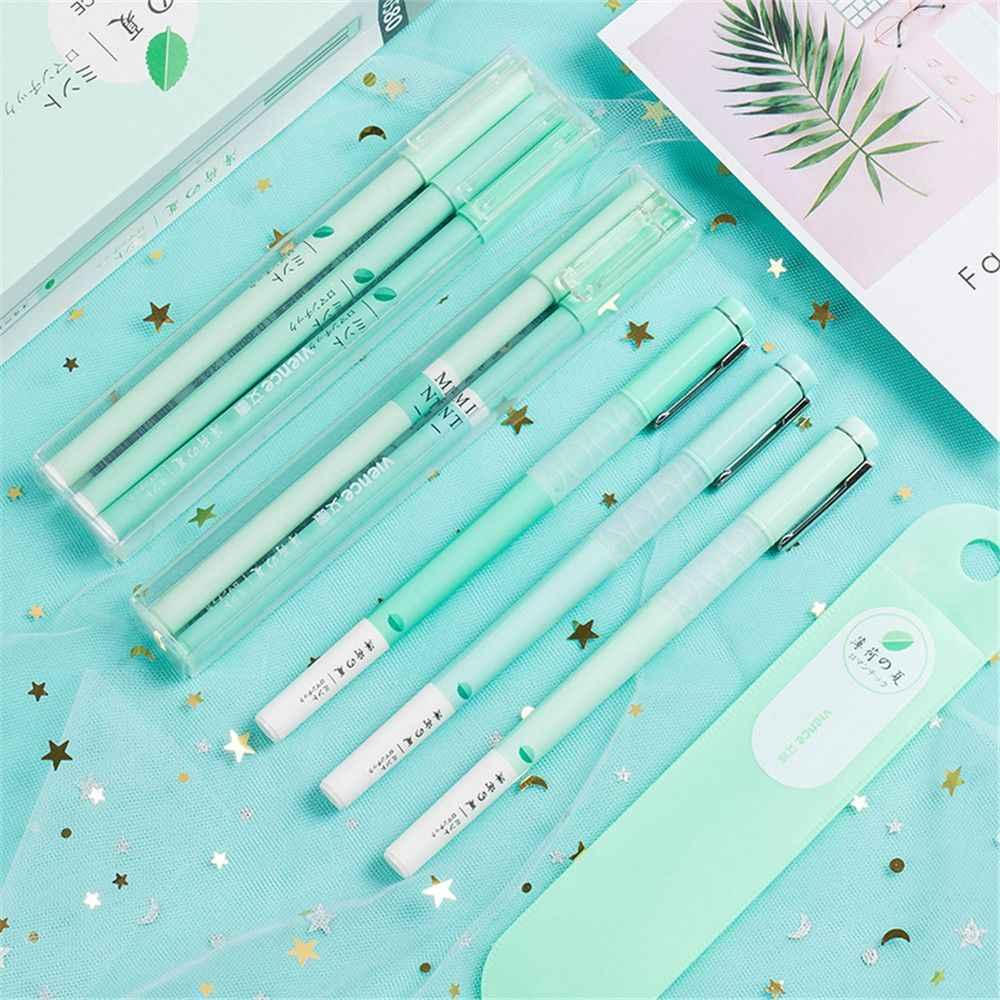 أزهار الكرز الكورية هلام مجموعة أقلام أقلام نقطة غرامة إبرة كاملة الأسود المائية قلم توقيع Kawaii اللوازم المدرسية هدية القرطاسية