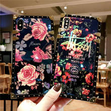 Fashion Blue light flower mobile cell phone cover fundas For Apple iPhone 7 PLUS phone cases XR X Xs 8 plus 6 6s plus xs max цена 2017