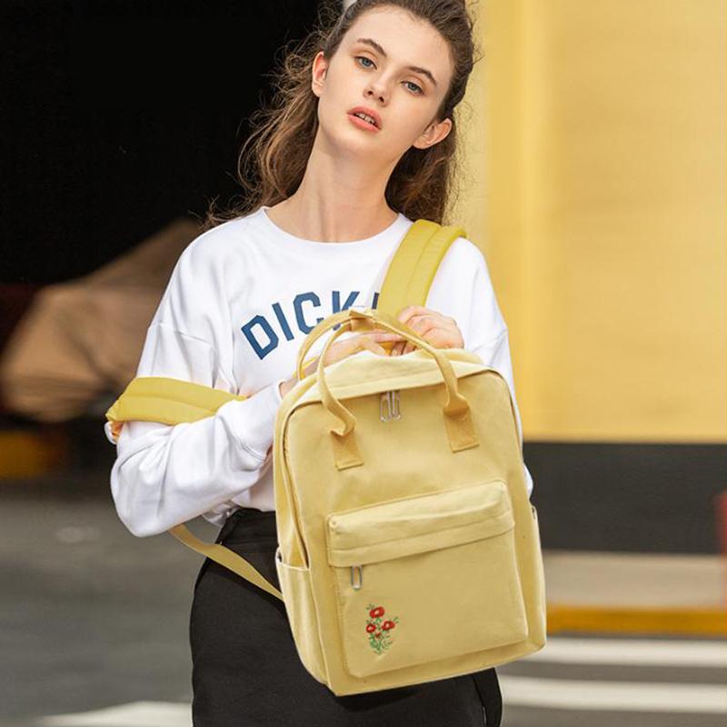 Backpack Women Korean Canvas Backpack School Bags For Teenage Girls Fashion Mochila Feminina Embroidery Flower Backpack