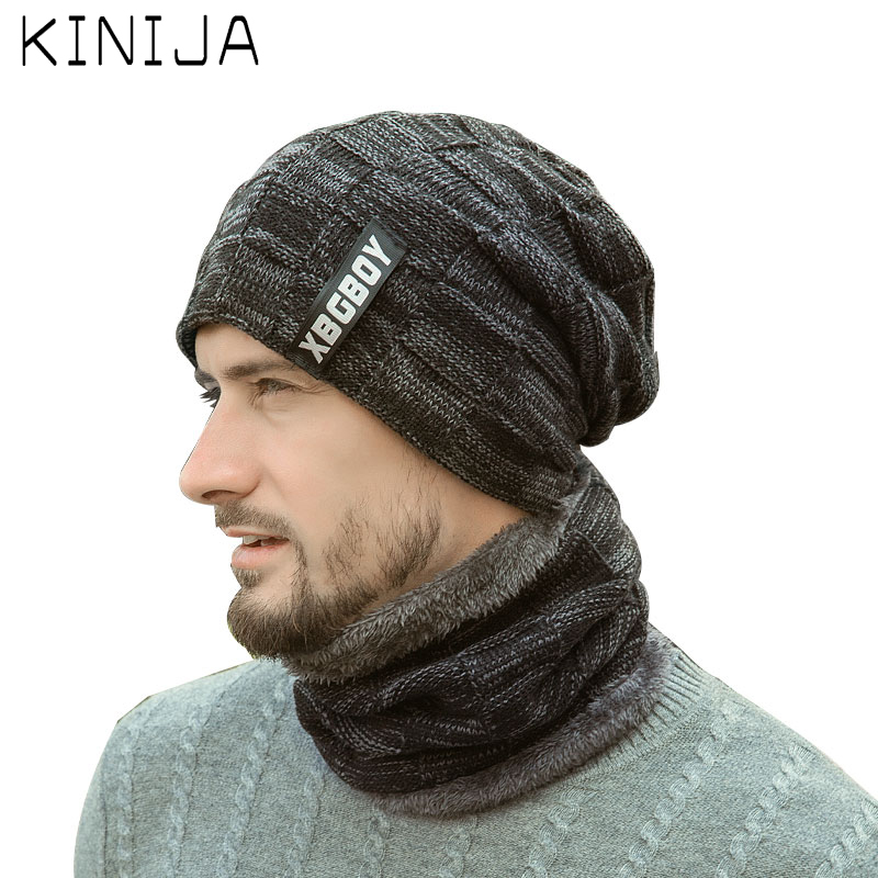 Men Autumn Winter Thicken Hat+Scarf Two-piece Set Knitting Hat Windproof Male Knitting Caps Neck Warmer Velvet Thick Hat