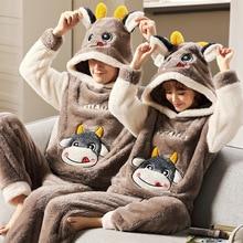 Теплый мужской% 27 пижамы зима фланель пара пижамы унисекс взрослый аниме мультфильм милый одежда для сна утолщение с капюшоном женщины мужчины дом одежда
