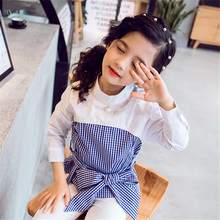 Kids Outfits For Teenage Girls Long Sleeve Patchwork Clothes Girls School Big Bow Plaid Ruffles Shirts Fashion Children Clothing