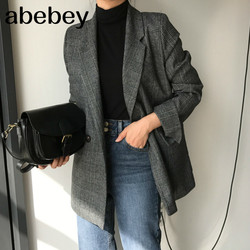 New 2020 Autumn Winter Women's Blazers Plaid Double Breasted Pockets Formal Jackets Checkered Outerwear Tops JK7113