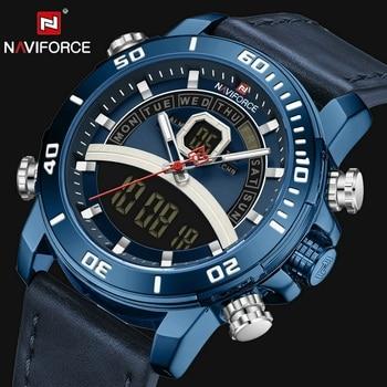 NAVIFORCE NF9181 Leather Strap Alarm Chronograph Sports Clock Male Brand Luxury-Blue