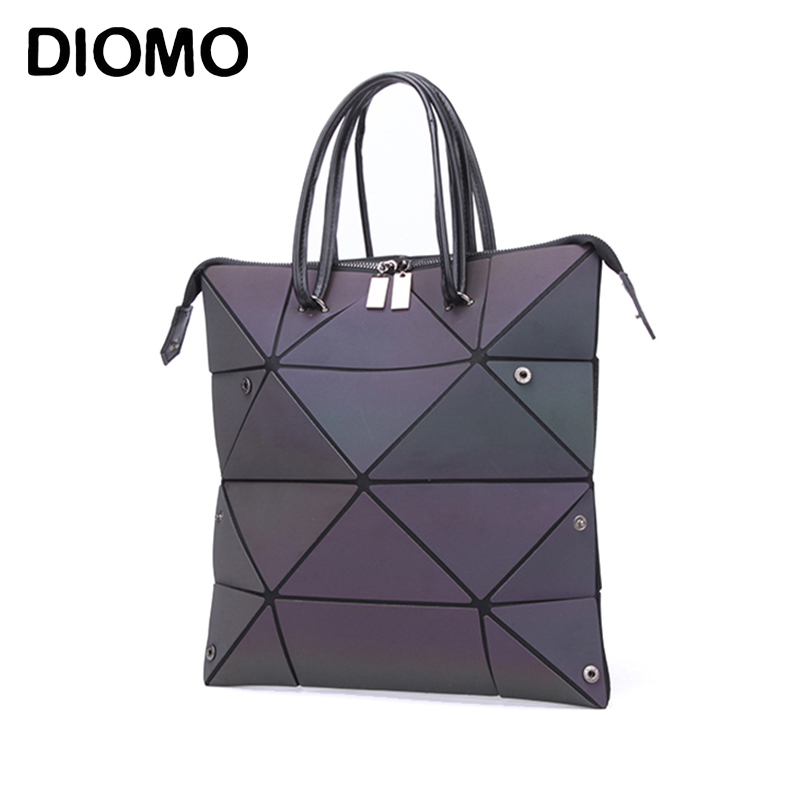 DIOMO Luxury Female Designer Luminous Deformation Folding Diamond Handbag Geometric Rhombic Fashion Shoulder Bag For Women