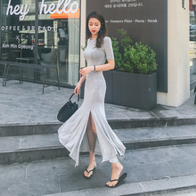Sexy Women Maxi Modal Dress Side Split Five Sleeve Long Club Party Fishtail Dresses Casual Streetwear