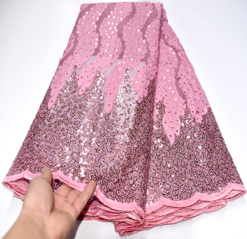 African Nigerian Net Lace Fabric With Sequins High Quality French Mesh Lace Fabric For Wedding Sewing