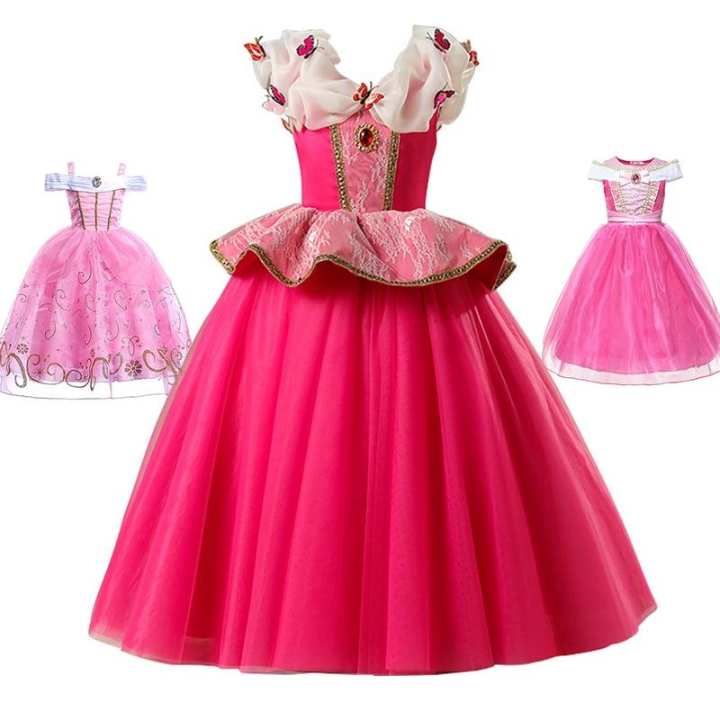 Meninas princesa aurora vestido dormir beleza traje cosplay vestidos de fantasia menina festa de halloween vestidos de baile crianças floral roupas