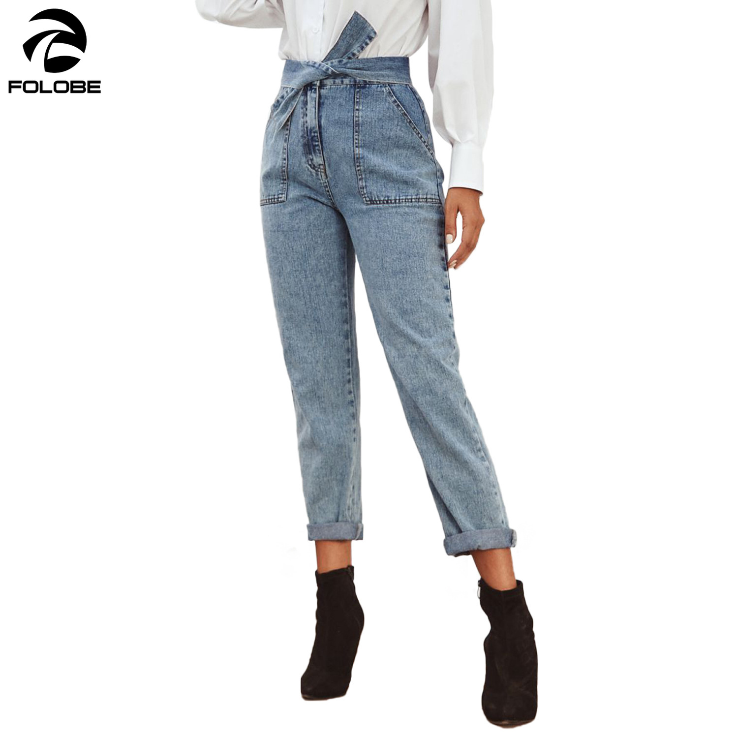FOLOBE Fashion Denim Pants Women Blue Bowknot Belt Cargo Pants Long Big Pockets Casual Trousers Women Jeans Female 2020