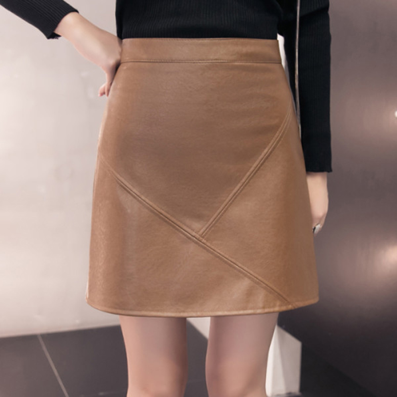 Image 4 - 2019 New Arrival Autumn Winter Sexy Lady Skirts Women Trend Solid PU Faux Leather Skirt Mini Female Invisible Zipper skin Skirts-in Skirts from Women's Clothing