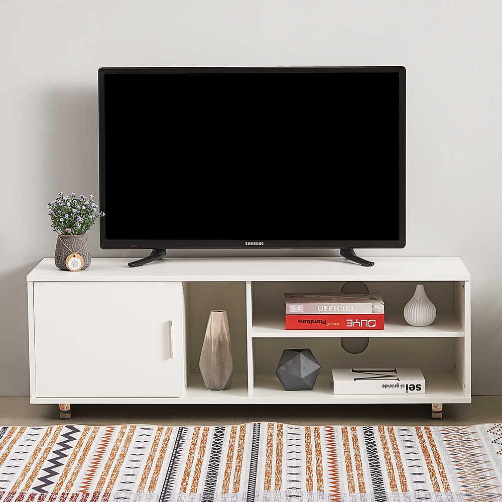 panana meuble tv blanc noir avec deux etageres 120cm console de rangement pour salon et chambre a coucher