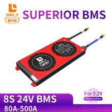Daly Placa de protección de batería BMS con módulo de batería de litio balanceada, LiFePo4 de 3,2 V, 8S, 24V, 80A, 100A, 200A, 500A, 18650 LFP