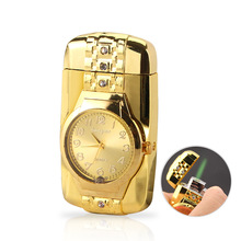 Luxurious Gold Watch Jet Lighter Torch Turbo Gas Lighter Windproof Cigar Cigarette Colorful Lights Led Inflated Gasoline Butane gold watch turbo gas windproof lighter luxurious jet torch lighter cigar cigarette metal led lighter inflated gasoline butane