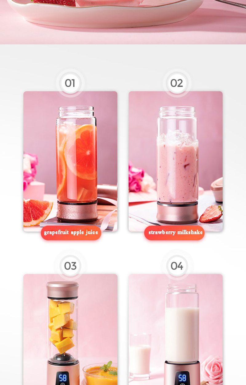 H4553bbe97a614f04a1307ce371a66a78m Portable Electric Juicer Blender USB Mini Fruit Mixers Juicers Fruit Extractors Food Milkshake Multifunction Juice Maker Machine