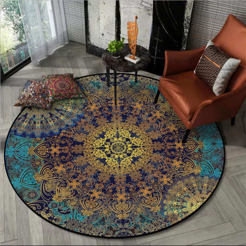 Rugs And Carpets For Home Living Room Mandala Flower Pattern Ethnic Round Carpet Christmas Rug Rugs For Children Rooms