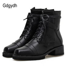 Gdgydh New Arrival Spring Motorcycle Boots Autumn Punk Lacing Shoes Square Toe Mid Heel Gothic Black Leather Good Quality